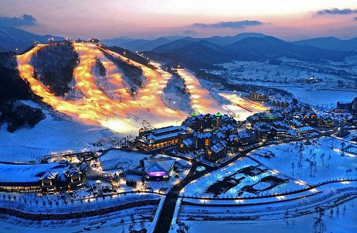 Alpensia Ski Resort Aerial View Night