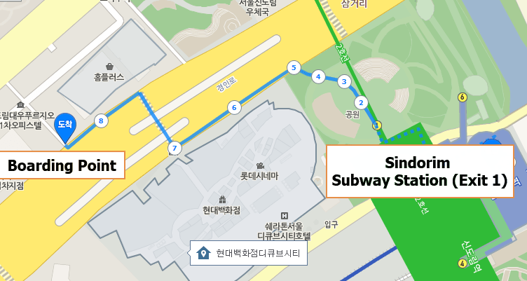 Everland and Caribbean Bay Shuttle Bus Meeting Location Sindorim Station Home Plus