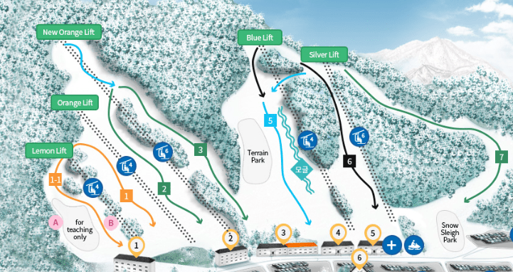 Jisan Forest Ski Resort Slope Map