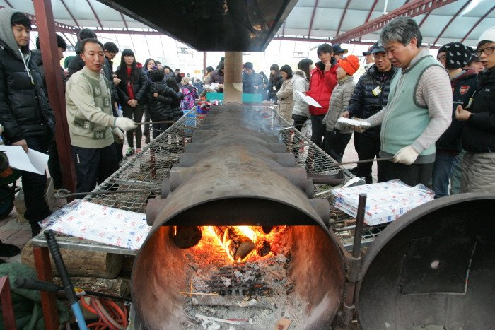 pyeongchang trout festival grilled fish
